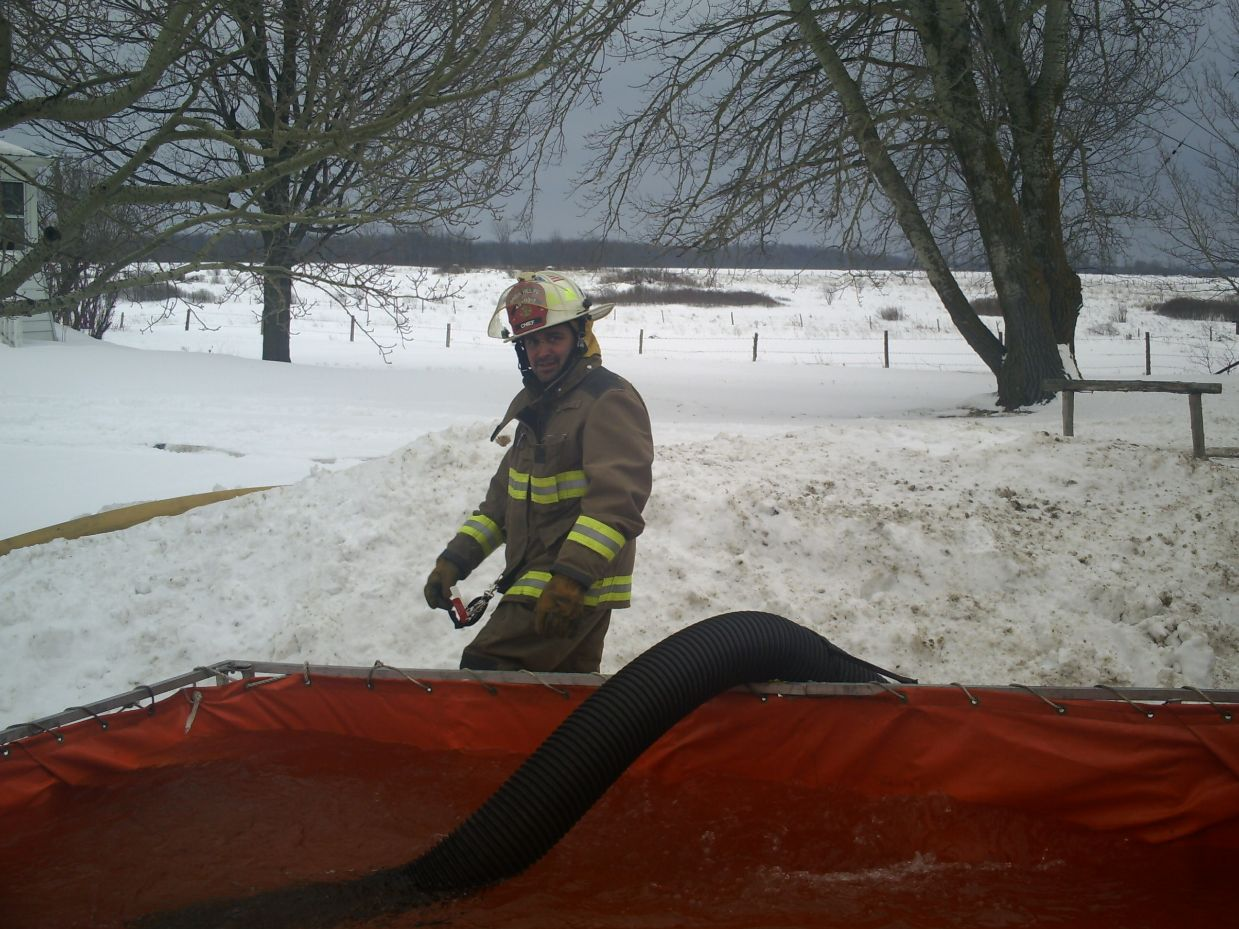 Brier Hill Fire Chief Shawn Macaulay surveying the water supply