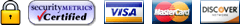 Certified Secure - Visa, MasterCard, Discover