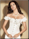 Victoriana Steel Boned Ruffle Satin Corset with Straps