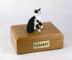 Black White Tabby Cat Figurine