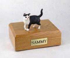 Black White Tabby Standing Cat Figurine