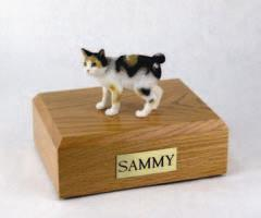 Japanese Bobtail Tort White Cat Figurine