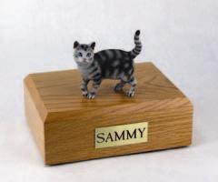 Silver Tabby Standing Cat Figurine