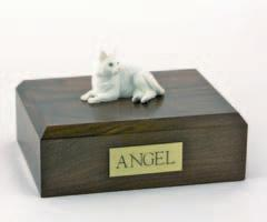White Cat Laying Figurine