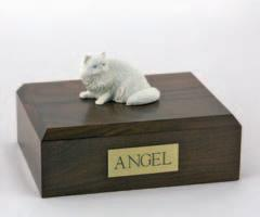 White Persian Laying Cat Figurine
