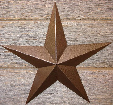 Metallic Hammered Brown Painted Solid Metal Tin Barn Star – Made in the USA!