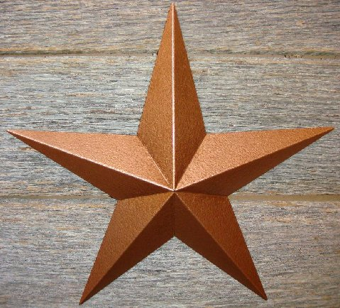Metallic Hammered Copper Painted Solid Metal Tin Barn Star – Made in the USA!