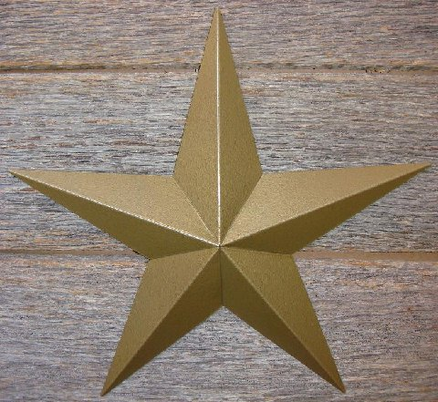 Metallic Hammered Gold Painted Solid Metal Tin Barn Star – Made in the USA!