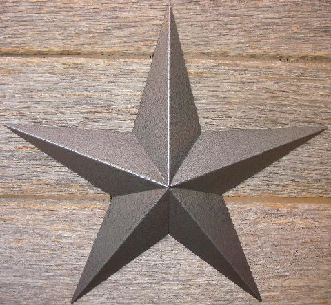 Metallic Hammered Pewter Painted Solid Metal Tin Barn Star – Made in the USA!