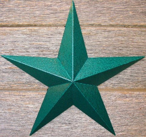 Metallic Hammered Green Painted Solid Metal Tin Barn Star – Made in the USA!
