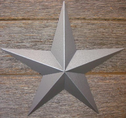 Metallic Hammered Silver Painted Solid Metal Tin Barn Star – Made in the USA!