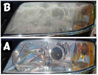 Before & After Headlight Restoration VW Passat 2003