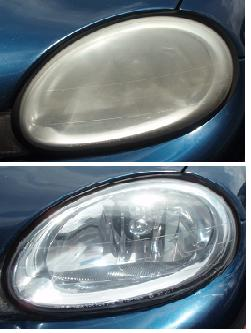 Before & After Headlight Restoration Dodge Neon
