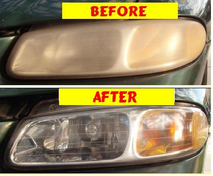 Before & After Headlight Restoration Dodge Carvan 2001