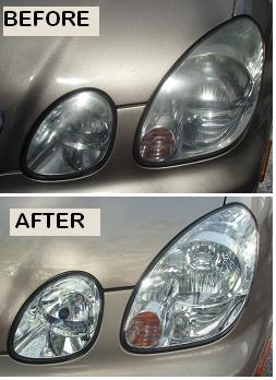 Before & After Headlight Restoration Lexus