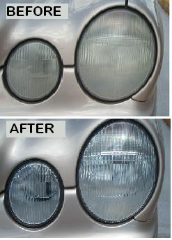 Before & After Headlight Restoration Mercedes E-series