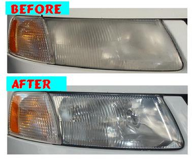 Before & After Headlight Restoration VW Passat