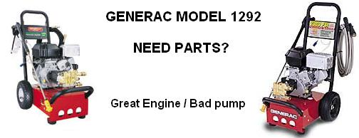 Generac pressure washer model 1292 replacement parts