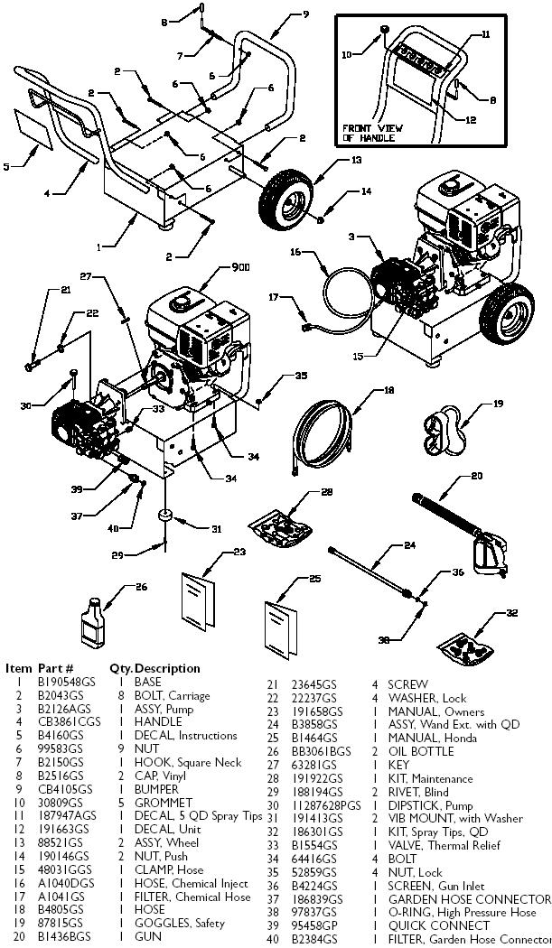 Generac pressure washer model 1418-2 replacement parts, breakdown, owners manual & repair kits.