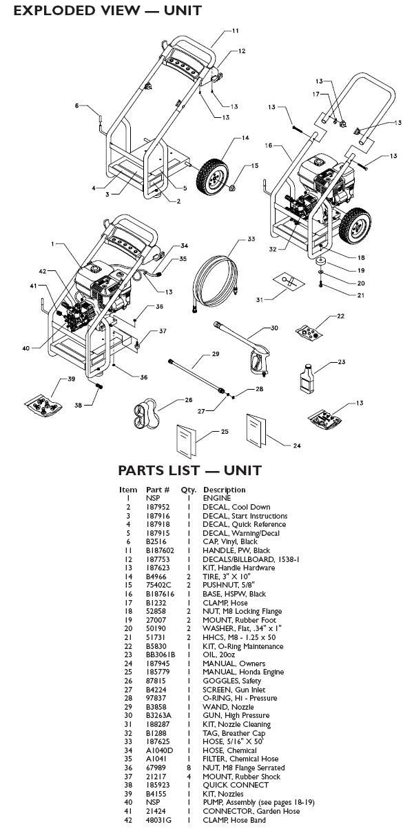 Generac Pressure Washer Model 1538 0 Replacement Parts