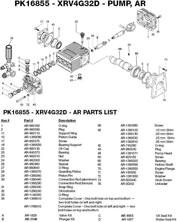 Excell 3204CWH pump parts