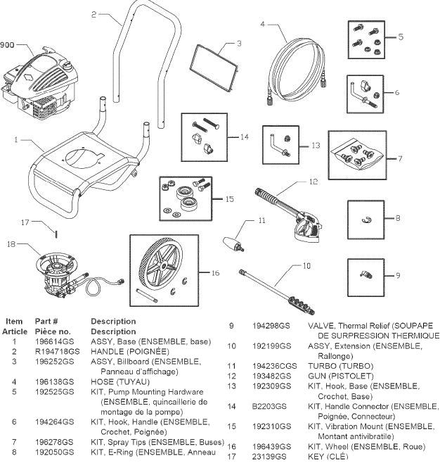 sears craftsman 580676661 pressure washer replacement parts