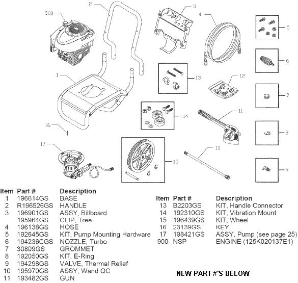SEARS CRAFTSMAN 580752330 PRESSURE WASHER PARTS