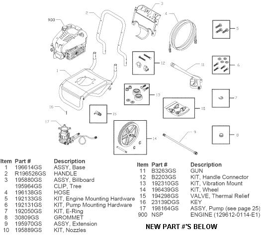 SEARS CRAFTSMAN 580752410 PRESSURE WASHER REPLACEMENT PARTS