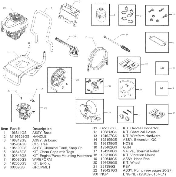 sears craftsman 580752710 pressure washer replacement parts