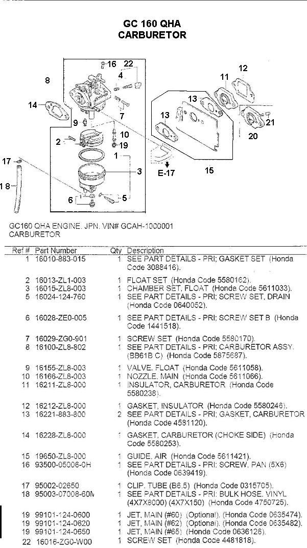 gc160 pressure washer engine parts and breakdown rh ppe pressure washer parts com honda gc160 carburetor diagram breakdown honda gcv160 carburetor diagram