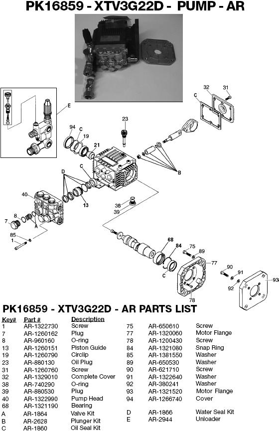 Excell MH6600H pump parts