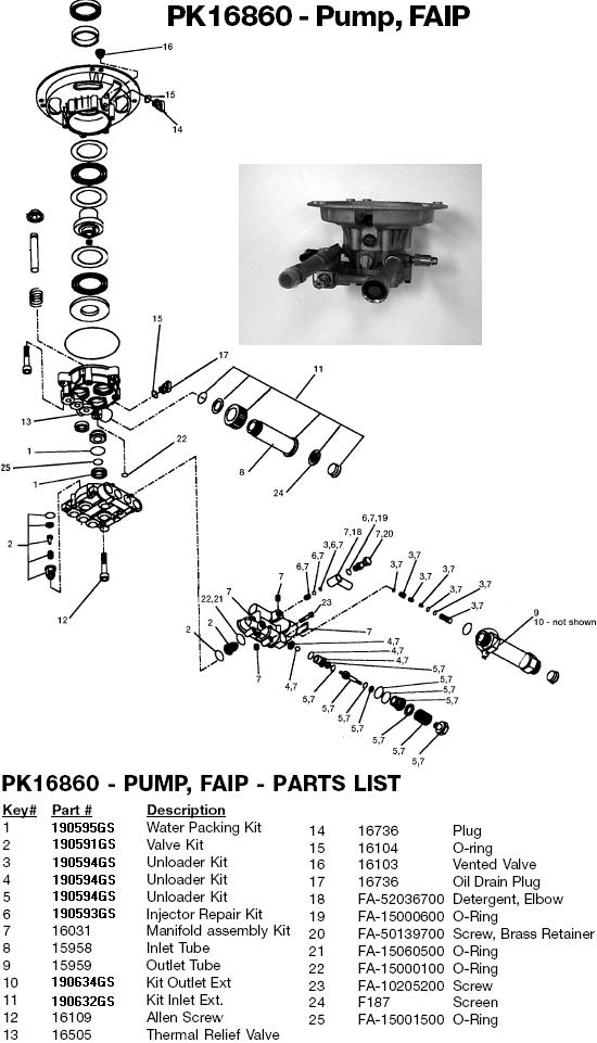 Excell MV3000B pump parts