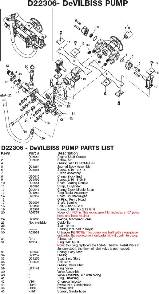 Excell MVR2250 pump parts