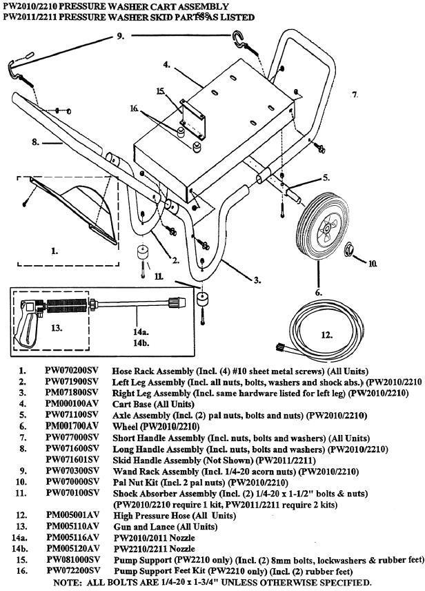 Campbell Hausfeld PW2210 pressure washer replacment parts