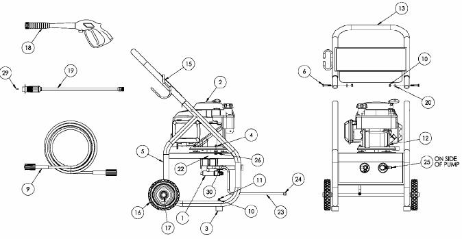 Coleman powermate PW0912201 pressure washer parts breakdown