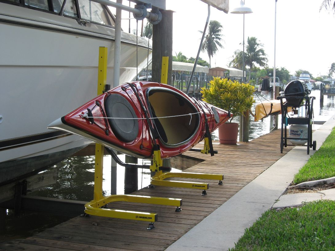 Kayak rack on dock