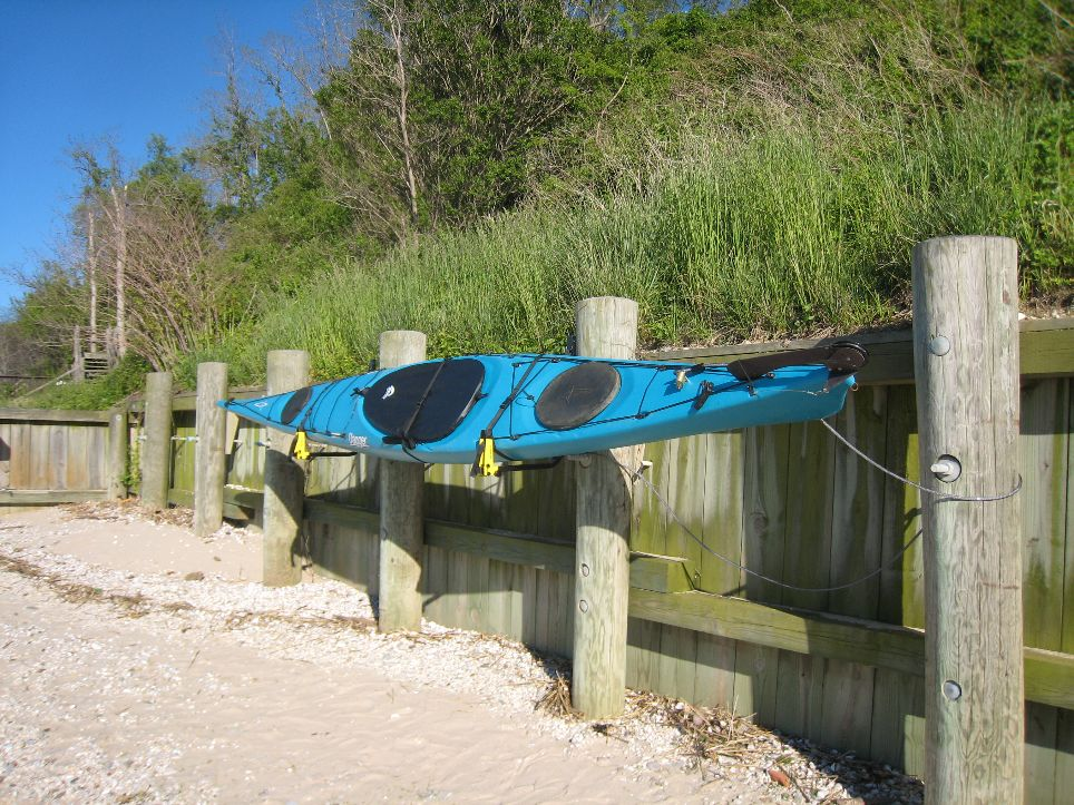 Kayak Rack on Beach in NY