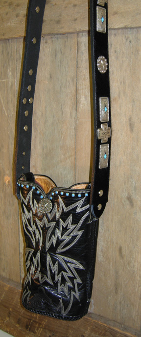 Black leather western purse