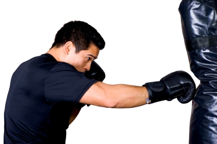 Boxer hitting bag with Bag Gloves