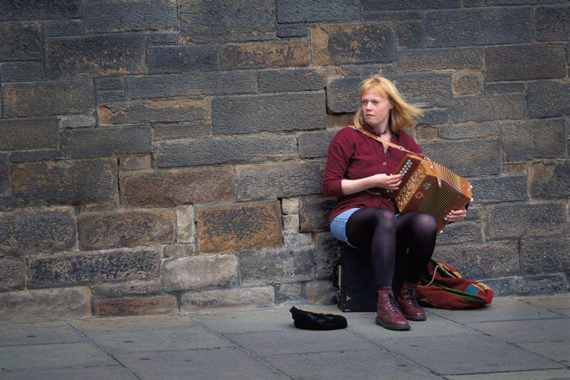 Street musician, Edinburgh, Scotland