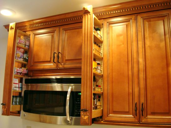 Copyright Kitchen Cabinet Discounts Planning Kitchen Planning RTA Kitchen Cabinets RTA Cabinets New Kitchen Cabinets spice pullouts above microwave open.JPG