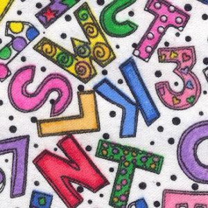 Crazy Numbers & Letters Fabric